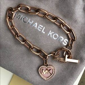 Michael Kors Rose Gold-Tone Heart Toggle Bracelet